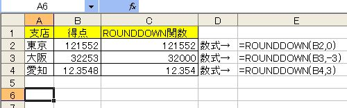 ROUNDDOWN関数